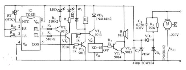 采用TC621構成的自動控溫伴樂曲發聲電路圖