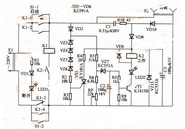 简单的市电电源超限保护电路