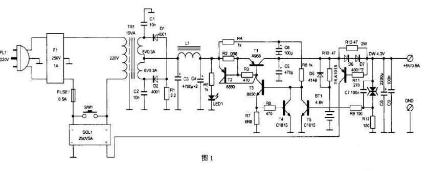 電源適配器自動斷電控制電路