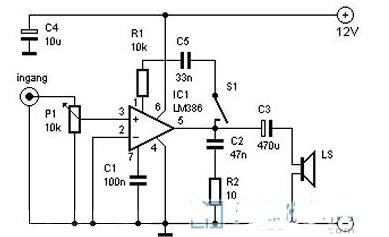 基于LM386制作的1W音频放大器电路