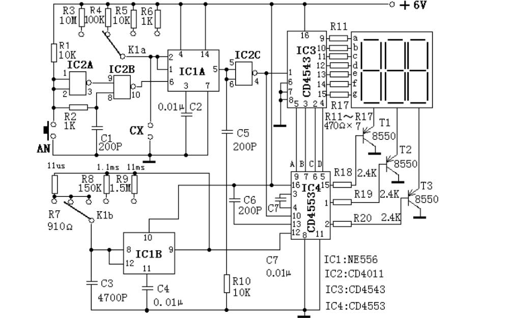 三位数字显示电容测试表的电路实例讲解