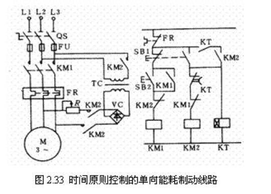 异步电动机能耗制动控制电路图