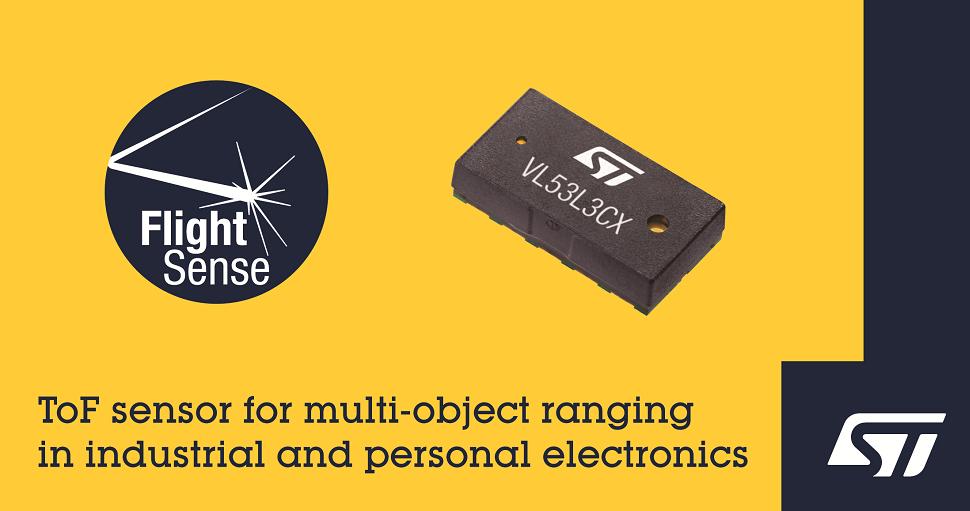 意法半導體推出最新的飛行時間傳感器,為下一代工業和個人電子設備帶來多目標測距功能