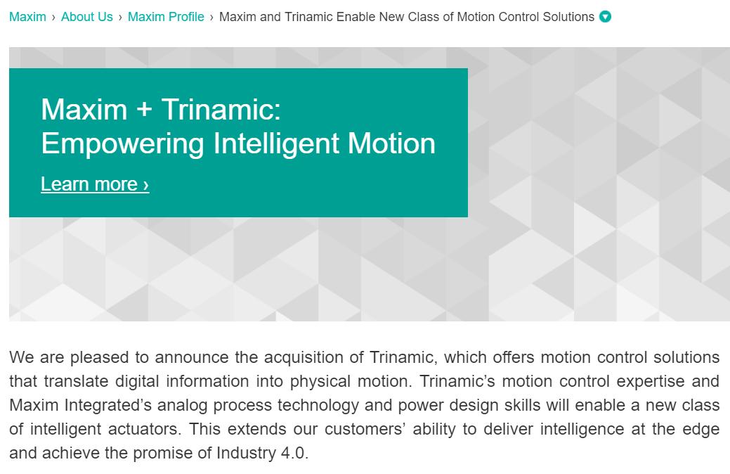 美信收購Trinamic