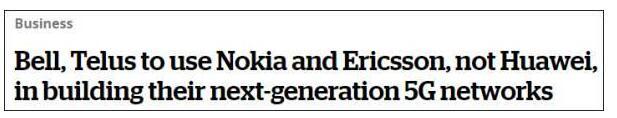 加拿大运营商选择爱立信诺基亚建5G网络_避开华为
