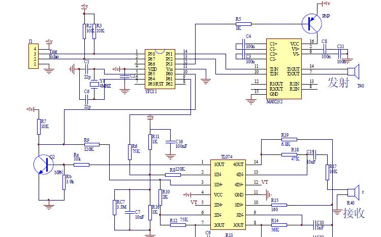 HC-SR04超聲波電路原理圖免費下載