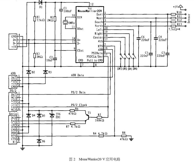 Mouse Warrior鼠标芯片的引脚功能及应用电路分析