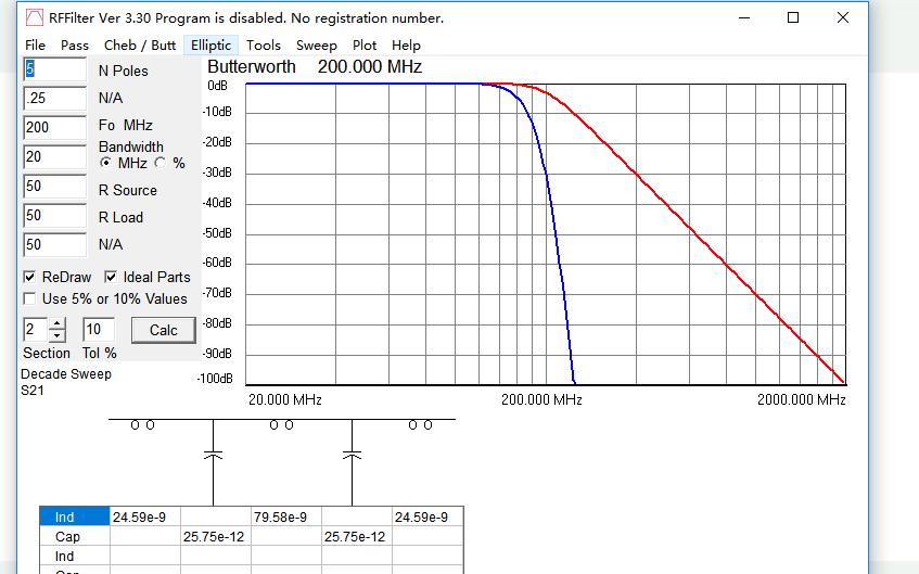 RFFilter滤波器设计软件免费下载