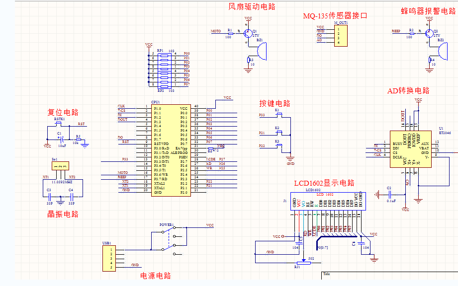 使用單片機設計室內空氣凈化系統的程序和芯片資料與電路圖免費下載