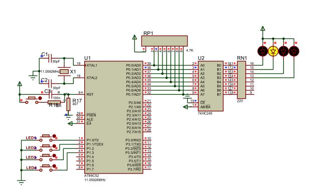 4个独立式按键控制LED开关的程序和仿真电路图免费下载