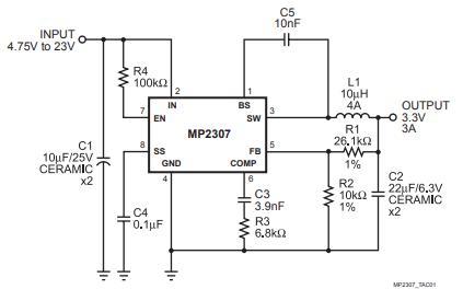 MP2307同步整流降壓變換器的數據手冊免費下載