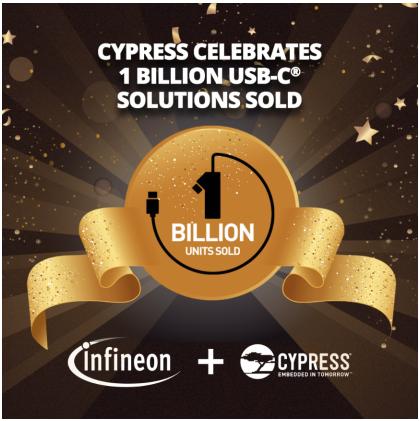 赛普拉斯 USB-C® 芯片出货量突破10亿片