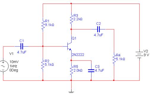 使用Multisim软件分析低频晶体管单级共射放大电路的实验资料说明