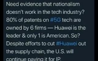 华为在5G领域拥有80%的技术专利,美国也需要向华为缴纳专利费