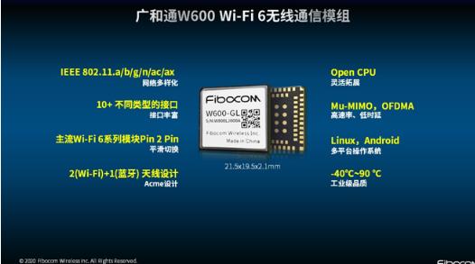 广和通推出全新Wi-Fi 6无线通信模组W600