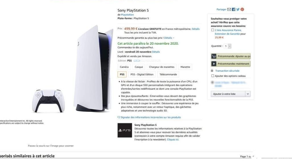 法国无光驱版PS5售价399欧元,约3179人民币
