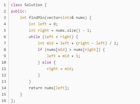 C语言:LeetCode 153寻找旋转排序数组中的最小值