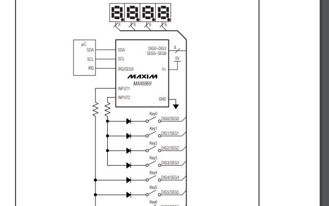 MAX6959和MAX6959紧凑型多路共用阴极显示器的数据手册免费下载