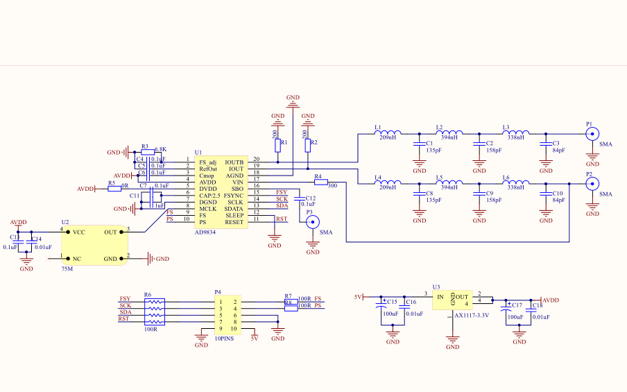 AD9834直接數字頻率合成器的電路原理圖和STM32驅動AD9834工程文件