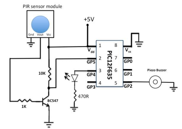 使用PIC單片機開發的被動紅外感測器模塊的報警器