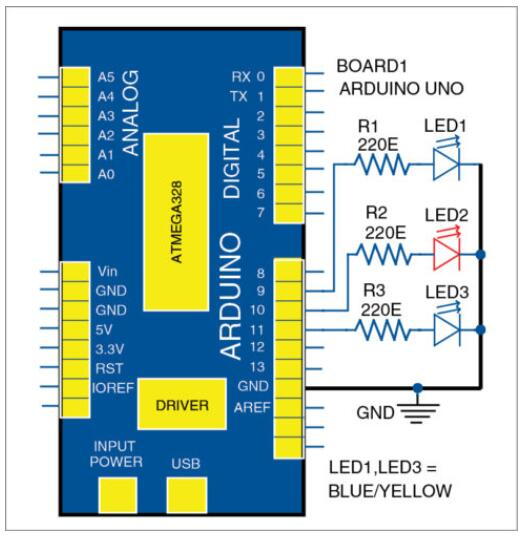 如何使用Arduino Uno开发板和三个LED...