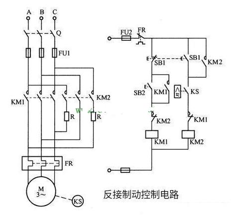 三相异步电动机反接制动的原理和实施方法图解