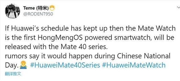 華為Mate Watch曝光:運行鴻蒙OS 將與Mate 40同臺發布