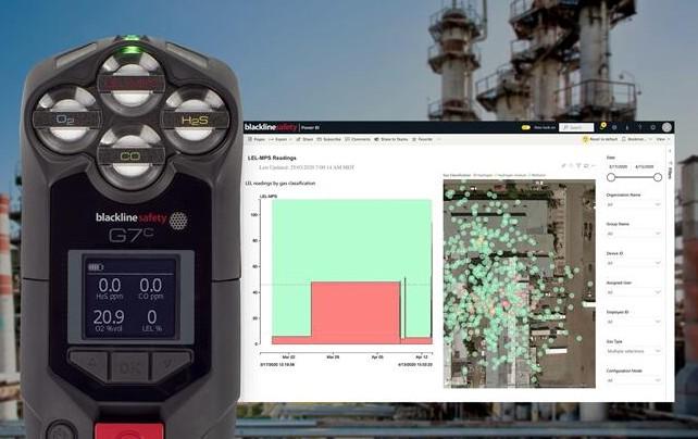 可燃气体传感器作为Blackline G7云连接安全可穿戴设备组合的一部分