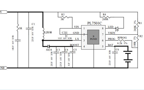 PL7501C升压型双节锂电池充电管理芯片的数据手册免费下载