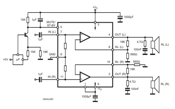 TDA7265立体声放大器的数据手册免费下载