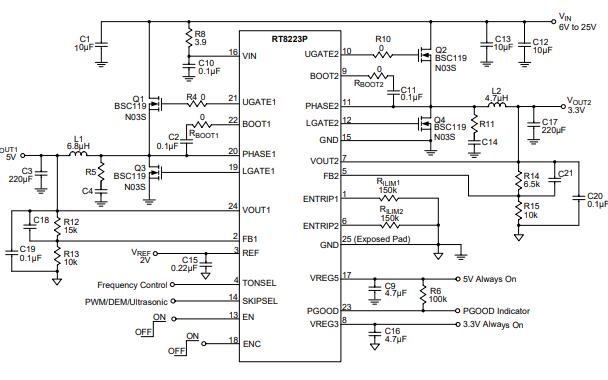 RT8223P笔记本电脑的高效主电源控制器的数据手册免费下载