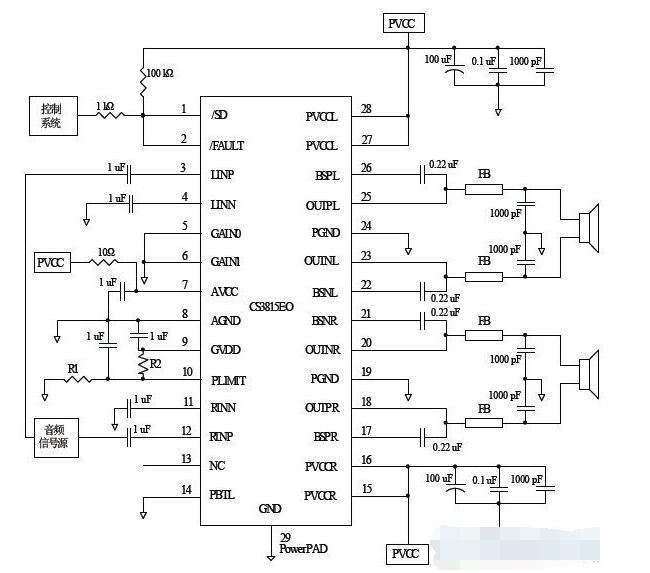 基于CS3815EO的音頻功率放大電路