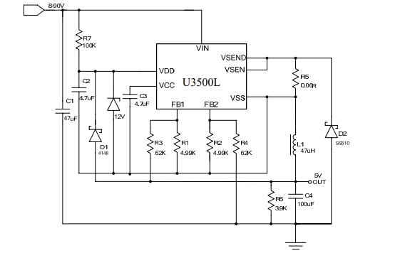 U3500L宽电压输入的开关降压型DCDC电源模块的数据手册免费下载本