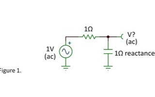 1Ω电阻和1Ω容抗串联,电容两端的交流电压是多少