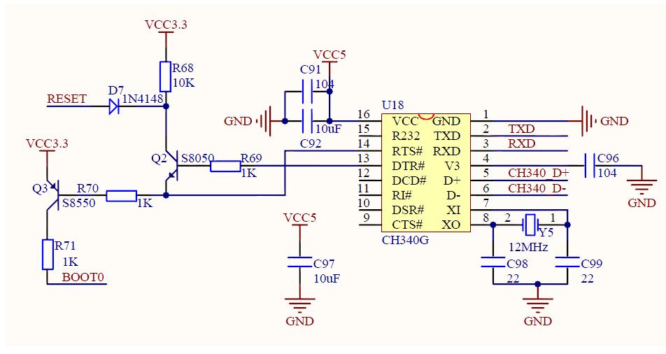 CH340G设计的一键下载电路设计案例