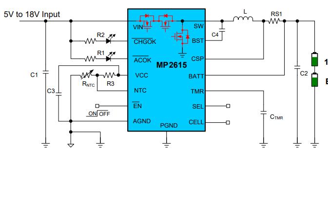 MP2615锂离子电池充电器的数据手册免费下载