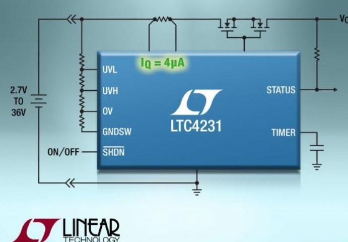 凌力爾特超低靜態電流控制器LTC4231的性能概要