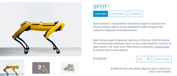 機器人制造商波士頓動力發售四足機器人Spot