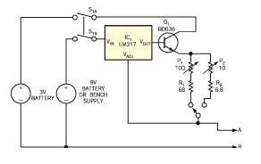 利用稳压器IC电阻器自制毫欧表的简单电路