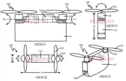 大疆新四旋翼无人机框架专利公布,将预装电机和ESCs