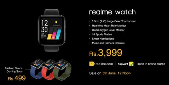 realme watch最新搭載1.4英寸屏幕 支持心率和血氧檢測