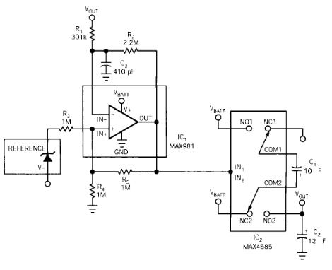 利用低导通电阻模拟开关实现超低静态电流电荷泵电路...