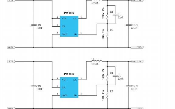 PW2052同步降压调节器芯片的数据手册免费下载