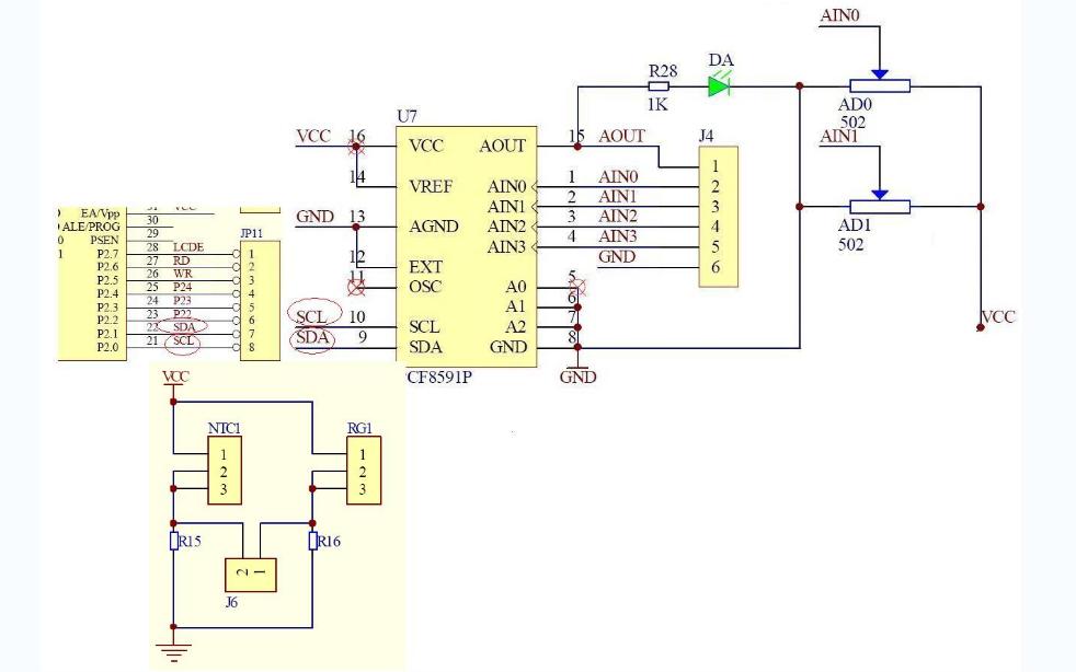 实现光敏和热敏电阻实验的C语言程序和电路图与数据手册等资料