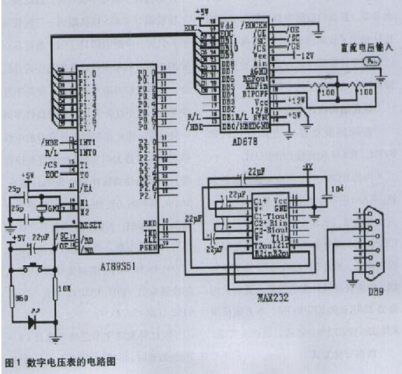 基于單片機和AD678芯片實現數字電壓表的整機設計