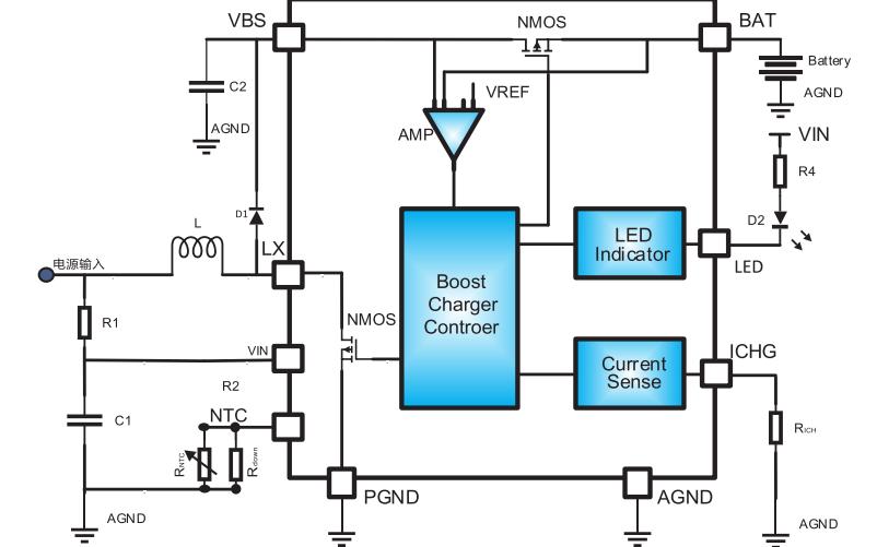 HM4038B双节锂电升压充电管理电路芯片的数据手册免费下载
