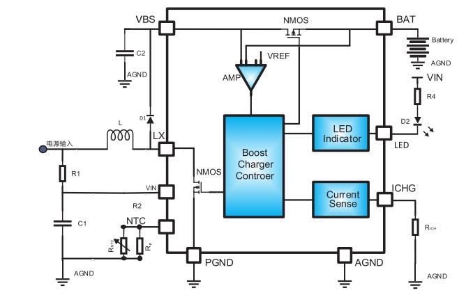 HM4038C锂离子电池的升压充电管理IC的数据手册免费下载