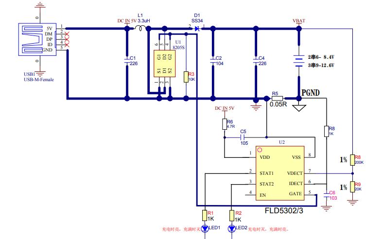 FLD5302和FLD5303開關升壓型鋰電池充電管理芯片的數據手冊免費下載