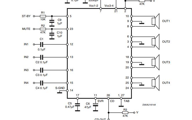 TDA7389A音频功率放大器的数据手册免费下载