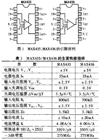 互导型放大器MAX435/36的性能指标及应用电...